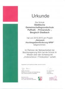Hochbegabten Urkunde 001